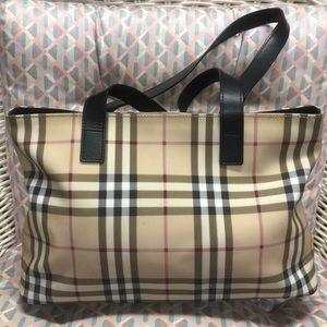 Authentic Burberry medium check tote handbag